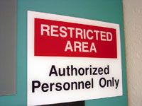 Restricted Personnel Cubicle Sign
